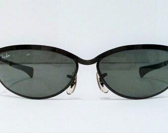 Vintage Ray Ban, Bausch & Lomb Black Olympian V Ray Ban Sunglasses, Oval 1981 Ray Ban Predator Sunglasses