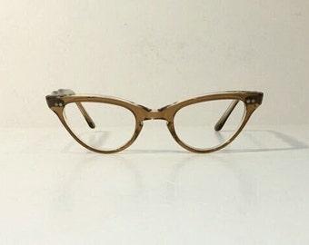 Vintage 1950's Frame France Clear Maple Sand Cateye Eyeglasses Frames, New Old Stock, Glasses Frames