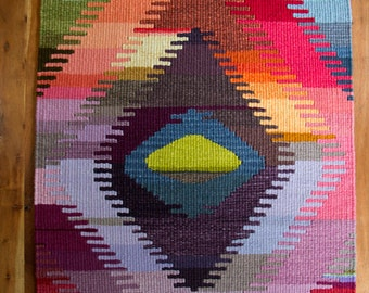 "Hand Dyed, Hand Woven, Wool ""Evil Eye"" Tapestry"