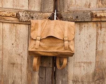 Light Brown Leather Laptop Messenger Backpack, Valentines Gift, Rustic Men Work Travel Bag, Laptop Purse, Laptop Briefcase, Leather Rucksack