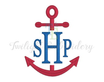 Split Anchor Satin Stitch Machine Embroidery Design, Nautical Machine Embroidery Designs 0058