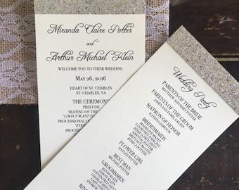 Glitter Wedding Programs - IVORY & GOLD