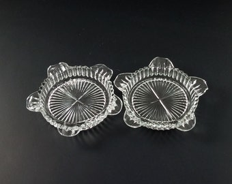 Vintage Clear Glass Ashtray Set of 2, Glass Coasters, Candy Dish, Candle Holder, Trinket Tray, Jewelry Holder, Fathers Day, Mothers Day Gift