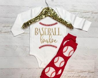Baseball Babe Glitter Baby Shirt Bodysuit Sparkle Tee