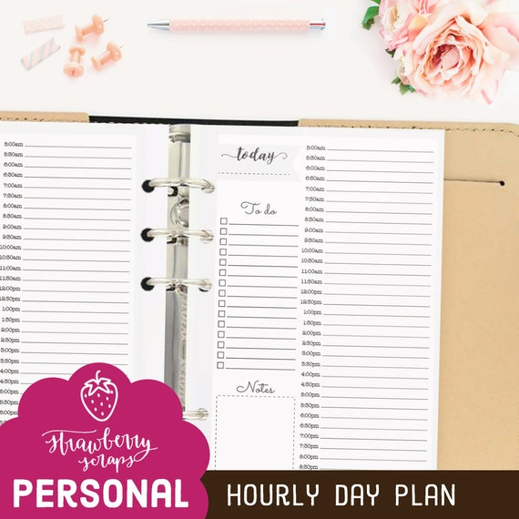 """Hourly planner printable: """"HOURLY DAY PLAN"""" Daily schedule 