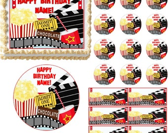 Movie and Popcorn Night Party Edible Cake Topper Image Frosting Sheet Cake Decoration Many Sizes!