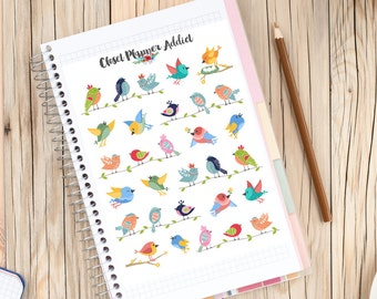 Cute Birds Planner Stickers | Colourful Birds | Cute Birds | Birds Stickers | Animal Stickers | Colourful Stickers (S-117)