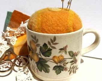 Pincushion cup upcycled retro vintage Australian crockery