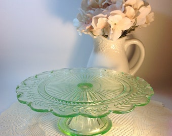 Green Glass Pedestal Stand Cake Pedestal Cake Stand Vintage Green Glass Cottage Chic Vignette Decorative Accent Centerpiece Entertaining