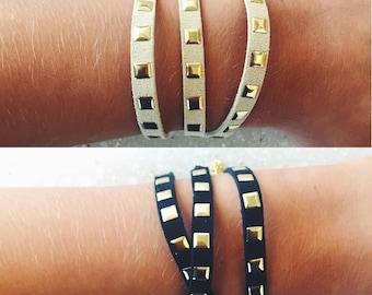 Gold-Studded Suede Wrap Bracelet