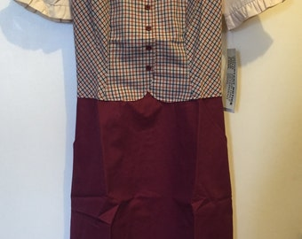Vintage 70's  Burgundy Uniform Dress