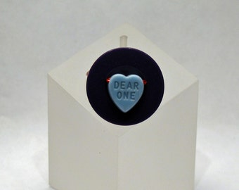 SALE - Wire-wrapped Ring - Dear One Valentine Candy Heart and Purple Button - Size 5