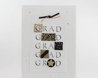 "Handmade Greeting Card - ""GRAD, GRAD, GRAD..."" on Vellum with Fine Art Paper Elements"