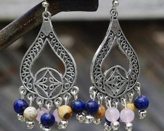 Semi Precious Stone Chandelier Earrings ~ Lapis Lazuli ~ Cherry Quartz ~ Jasper Sone ~ Healing Stones ~ Boho Style ~ Bohemian Jewellery