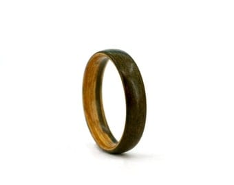 Handmade Bentwood Ring - TROPICAL WENGE and OLIVE wood natural rustic durable process Wooden Jewelry Wedding Promise Engagement Band