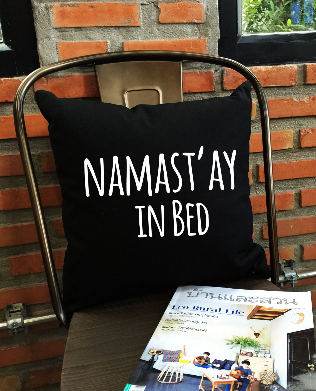 sale namastay in bed throw pillow cover yoga bedroom