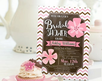 Pink & Brown Chevron Bridal Shower Invitation - Personalized Printable DIGITAL FILE