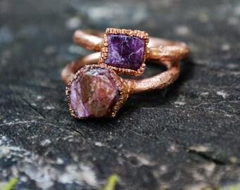 Ruby Ring, July Birthstone Ring, Copper Ruby Ring, Gemstone, Birthstone Ring, Ruby Jewelry, Natural Raw Ruby Ring, Gift, Birthstone Gifts