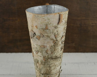 "Birch Vases 9"" Tall Zinc Liner with Birch Bark Cover"