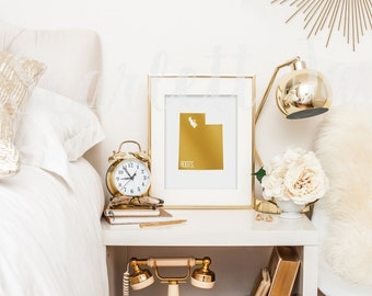 Utah - Gold Foil Print - Apartment Decor - Dorm Decor - Home - Roots