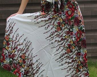 Hippie Skirt Gypsy hippie style flower white One Size Fits