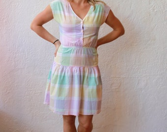 Sweetie! Pastel Checkered 80s Dress