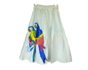 Vintage Parrot Skirt   80s White Parrot Skirt   1980s High Waist Full Skirt   Tropical Skirt   Hawaii Vacation Skirt   Beach Skirt Bird S