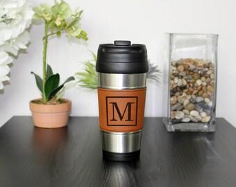 Leather Travel Mug, Leather Coffee Mug, Personalized Travel Mug, Personalize Coffee Mug, Coffee Mug, Custom Travel Mug --TM-RHLTH-M