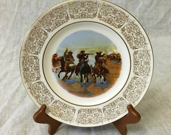 """Vintage Wittnauer Collectors Guild Plate, """"A Dash For Timber"""""""