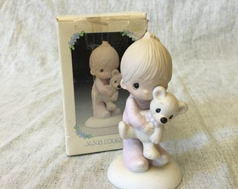 "Vintage Precious Moments ""Jesus Loves Me"" Figurine 1977, Jonathan and David Child with Teddy Bear Figurine, E 1372 B"