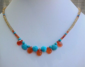 Multigemstone necklace with citrine,turquoise and carnelian,summer jewelry,colourful life