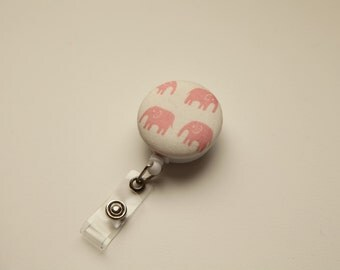 Pink Elephants Kawaii Retractable ID Badge Reel - FREE SHIPPING with another purchase - Name Badge, Tag, Nurse , Teacher Badge Holder