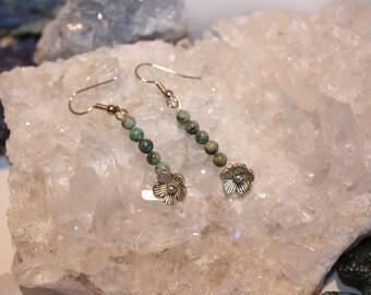 African turquoise flower petal earrings