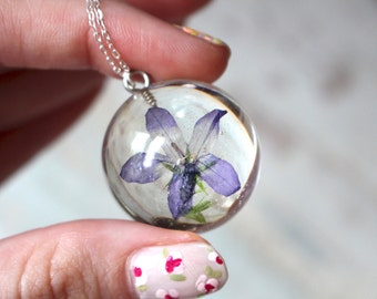 Real Purple Flower Resin Pendant Sterling Silver Necklace