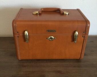 Brown Samsonite Train Case; Mirrored Train Case; Samsonite Luggage; Vintage Train Case