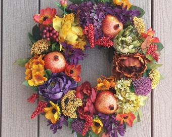 Pommegranate fall wreath front door decor pommegranate wreath Autumn wreath thanksgiving wreath fall wreaths  with berries fall season decor