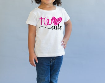 Two Cute Birthday Top - Birthday Shirt - Birthday Girl - 2nd Birthday Shirt - two Year Old - Birthday Gift- 2nd Birthday Outfit