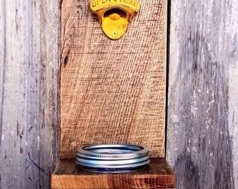 Mason Jar Bottle Opener - Wall Mounted - Groomsmen Gift - Rustic Beer Opener - Bottle Cap Catcher - Groomsman Gift - Boyfriend Gift Ideas