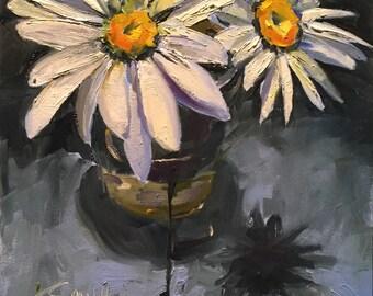 daisy // daisy painting // daisy art // oil painting // original art // white flowers