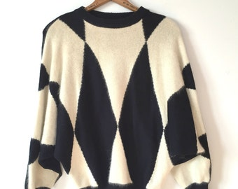 black & white batwing sweater