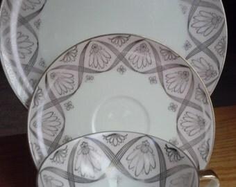 3 PIECE LUNCHEON SET, Vintage, Serpentine Pattern, Flowers, Bavaria,  alka Kunst, Collectible