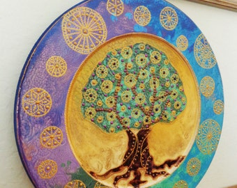 Tree of life art Wall art Wooden decorative plate Bohemian decor