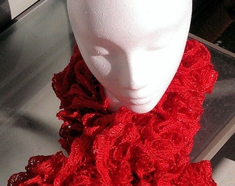 Bright Red, Ruffled Valentine Scarf