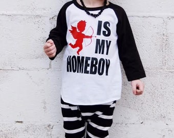 boy valentines outfit, cupid shirt, v-day shirt, cupid is my homeboy, baby boy, funny valentines shirt, trendy, unisex, raglan, baseball tee