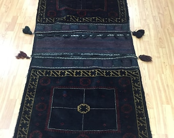 "3' x 6'6"" Afghan Turkeman Decorative Saddle Bag Oriental Rug - Hand Made"