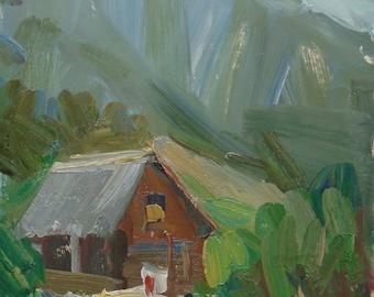 MOUNTAINS PAINTING IMPRESSIONIST Original Oil Painting by a Ukrainian artist Mishina E. 2000s, Signed, Handmade Artwork, Ukrainian Fine Art