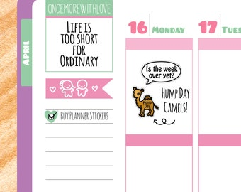 Cute Hump Day Camel Weekly Marker Planner Stickers (V68*)