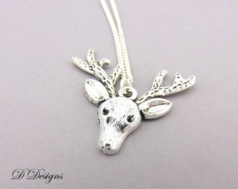 Reindeer Necklace, Stag Jewellery, Stag Necklace, Deer Necklace, Sterling Silver, Reindeer Gifts