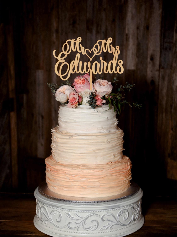 Wedding Cake Topper Mr Mrs Custom Last Name Personalized Wood