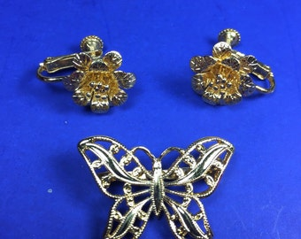 Napier Gold Tone Brooch and Earring Set